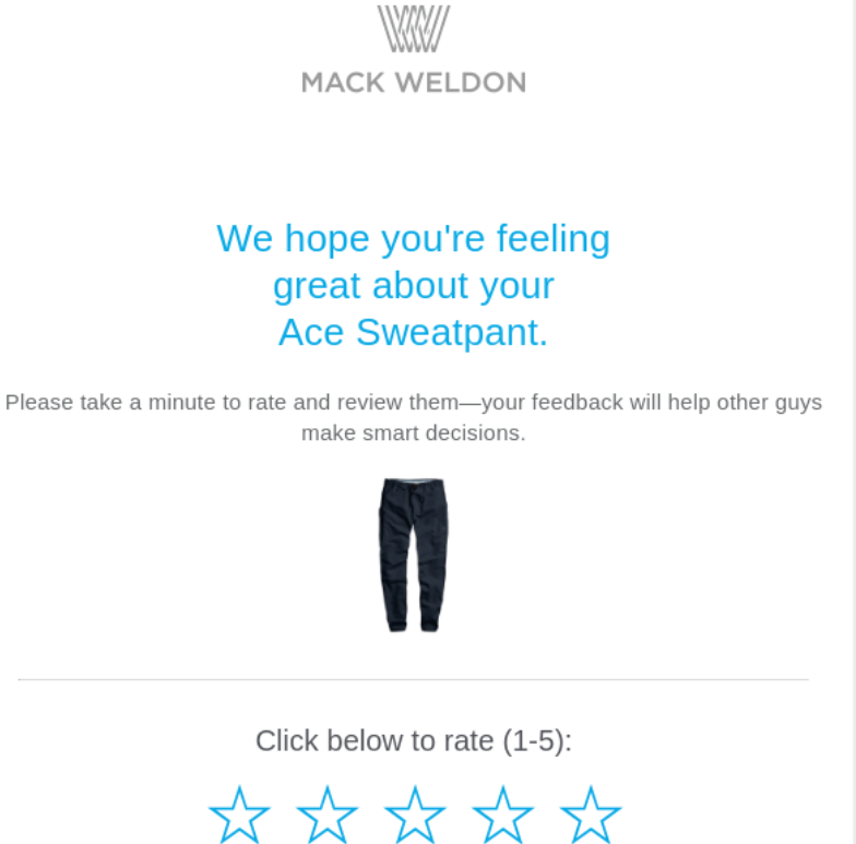 Email Marketing for a WooCommerce Subscription Business: Mack Weldon review request