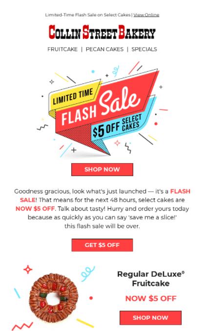 "Collin Street Bakery ""Flash Sale"" announcement"