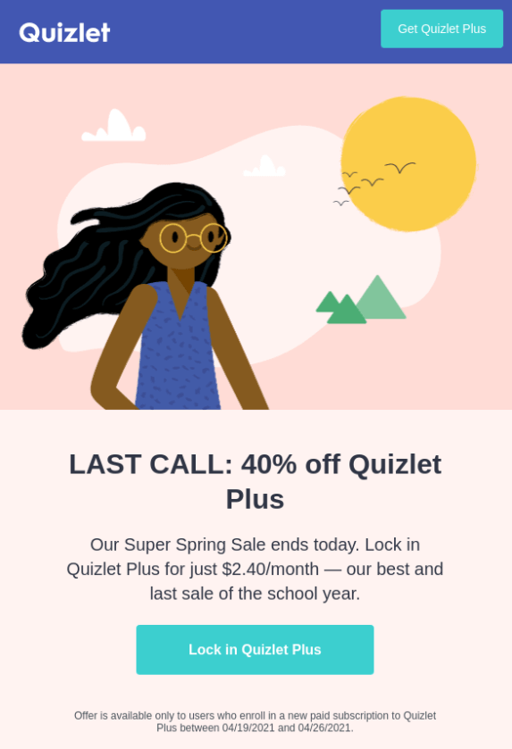 """How to promote your sales with email marketing: Quizlet """"Last day of sale"""" email"""