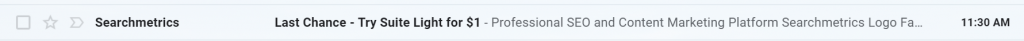 Example of Searchmetrics email subject line